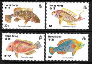 Hong Kong MNH 369-72 Fish 1981