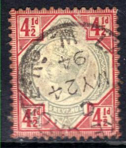 GB 1887 - 92 QV 4 1/2d Green & Carmine Pmk May 24 1894 SG 206 ( M1393 )