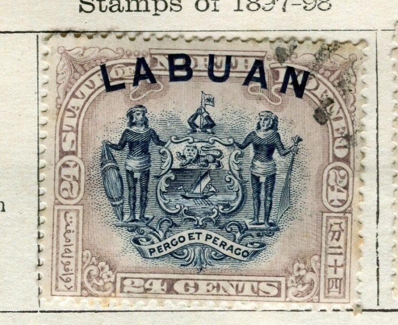 NORTH BORNEO LABUAN;  1897-8 early classic Pictorial issue 24c. used value