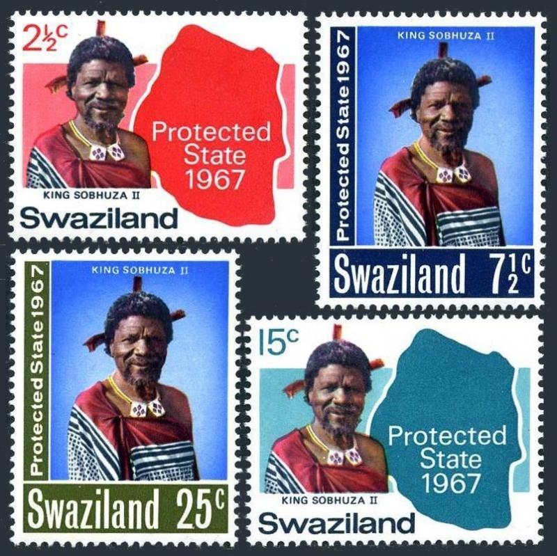 Swaziland 126-129,MNH.Michel 126-129. 1967.King Sobhuza II,1967.Map.