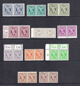 GERMANY AMG 1945-1946 11 PAIRS 6 BLOCKS 4 MOST OG NH U/M BEAUTIFUL GUM