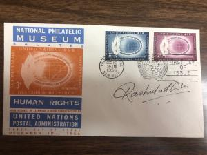 U.N. F.D.C. Human Rights Stamps 1956 Signed By The Designer Rashid-ud Din
