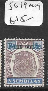 MALAYA  NEGRI SEMBILAN  (P2704B) TIGER 4C/8C  SG 19  MOG