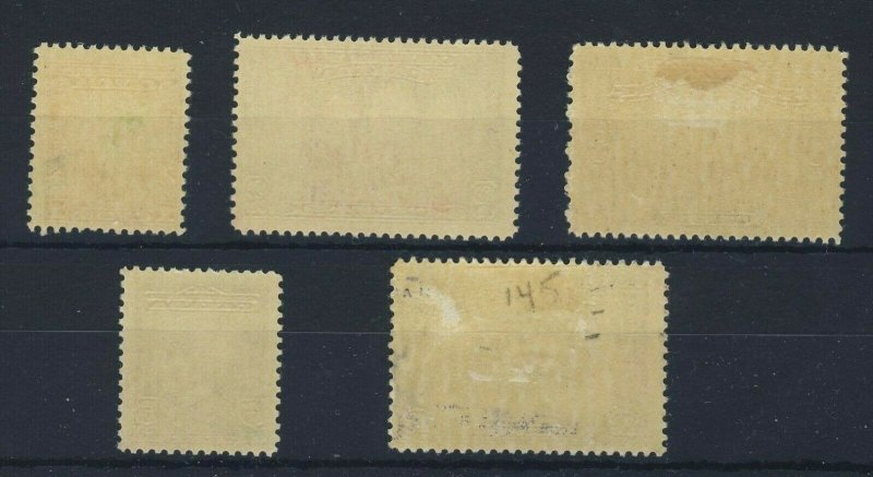 5x Canada Stamps #141 to 145 2x MNH 2x MH 1x MGD Guide Value = $37.50
