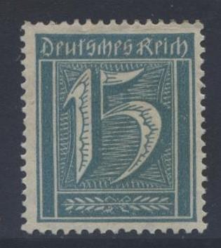 GERMANY. -Scott 139 - Definitives -1921 -MLH - Grnish Blue -Single 15pf Stamp1