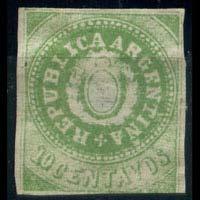 ARGENTINA 1863 - Scott# 7F Seal 10c NH no gum