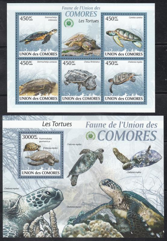 Comoro Islands  2009 Turtles  Marine Life  M/S + 6v S/S (2) Sheets  75456
