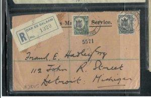 TANGANYIKA  COVER (P2908B)  1926  50C+15C  GIRAFFE ON REGISTER COVER TO USA
