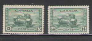 Canada Sc 258-9 1942 13 & 14 c tank stamps mint