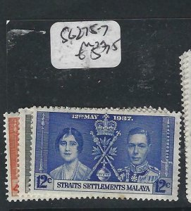 MALAYA STRAITS SETTLEMENTS  (P2206B)   KGVI  CORONATION  SG 275-7  MOG