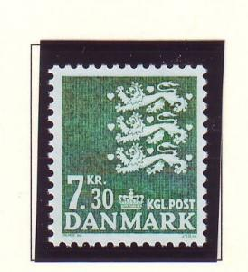 Denmark  Scott 808 1989 7.3 kr green State Seal stamp mint NH