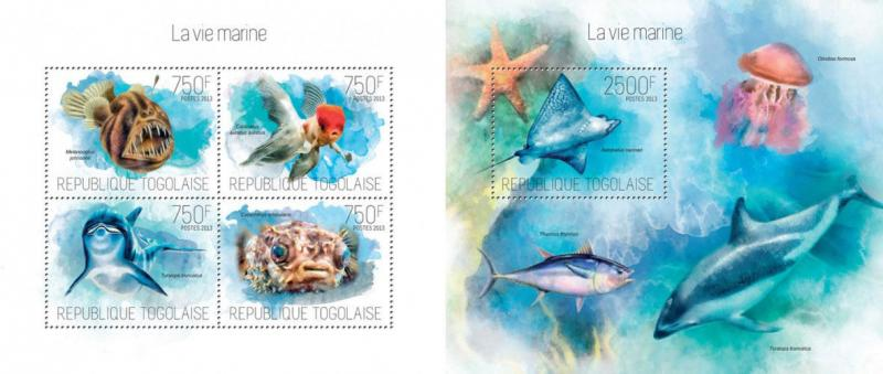 Marine Fauna Dolphins Delfine Fishes Fische Quallen Animals Togo MNH stamps set