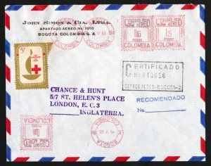 Colombia 1963 Registered (Certificado) Cover to England (Inglaterra) - Uprated