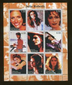 Tajikistan Commemorative Souvenir Stamp Sheet - Actress Julia Roberts
