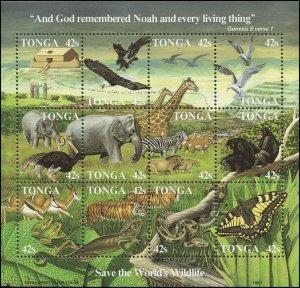 Tonga 1987 Sc 650 Birds Noah's Ark Giraffe Elephant Zebra Butterfly CV $57.50