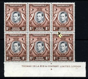 KENYA UGANDA & TANGANYIKA 1938 1c. BLOCK RETOUCHED VALUE TABLET SG 131ad MNH