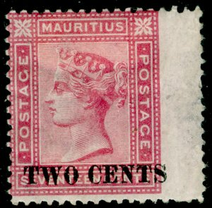 MAURITIUS SG119,  2c on 17c rose, M MINT. Cat £140.