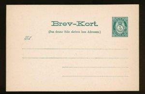 NORWAY Mi. P34 POSTAL STATIONERY POSTAL CARD,5 o SHADE