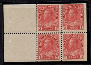 Canada Sc 109a 1923 2c car G V Admiral stamp bklt pane of 4