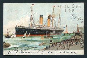1907 White Star Line Oceanic - Liverpool, England Sea Post to Harrisburg, PA