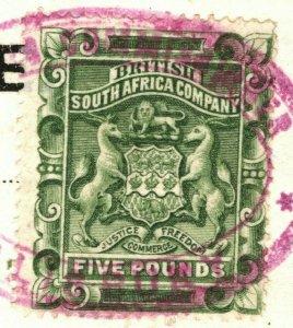 Rhodesia BSACo Stamp SG.12 £5 Sage-green (1892) VFU Fiscal Cancel Piece GBLUE152