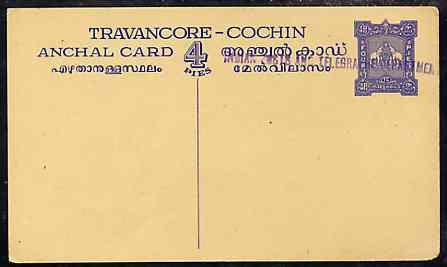 Indian States - Travancore-Cochin 1950c 4 pies p/stat car...