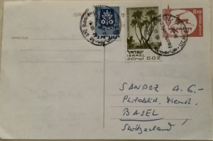 ISRAEL 1971. POSTAL STATIONERY & SG#417+432.From Tel Aviv to Basel. 17/10/1971