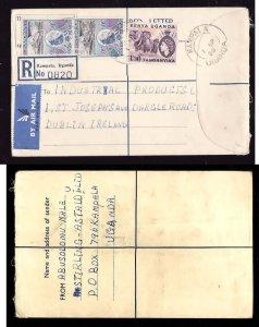 Uganda registered letter to Ireland - Kampala , Uganda - 1 Ap 1958- registration