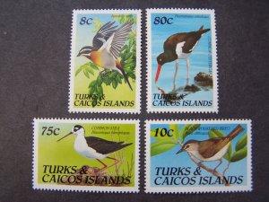Turks & Caicos 1990 MNH Birds 4 v set + m/s