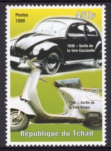 Chad 1999 Sc#808f Volkswagen Beetle and Vespa motor sccoter (1) Perforated MNH