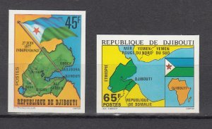 DJIBOUTI SC# 457-458 INDEPENDENCE 1977 -MNH -  IMPERF SET