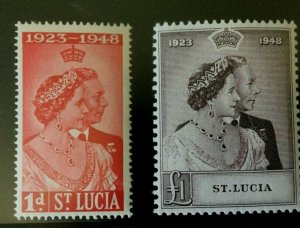 St Lucia: 1948, Royal Silver Wedding, Very lightly hinged Mint