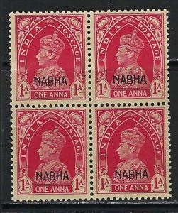 INDIA NABHA 90 MNH BLOCK OF 4 N225