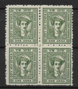 INDIA-INDORE SG38 1941 1a GREEN BLK OF 4 MNH