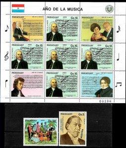 PARAGUAY 1985 MUSIC YEAR J.BACH MS SPECIMEN MUESTRA VARIETY Mi 3860-2,KB