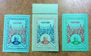Germany ZEPPELIN Cinderella Poster Stamps lot of 3 different colors green paper