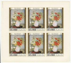 Oman; Flower Paintings Imperf Sheetlet, MNH, Pierre Laprade, Poppies & Daisies