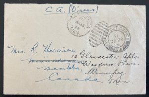 1941 Canadian Army Overseas Field Post 314 Cover To Manitoba Canada D Harrison