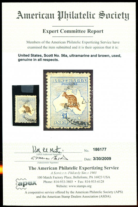 Australia #56a Used APS Cert FVF Cat$1200