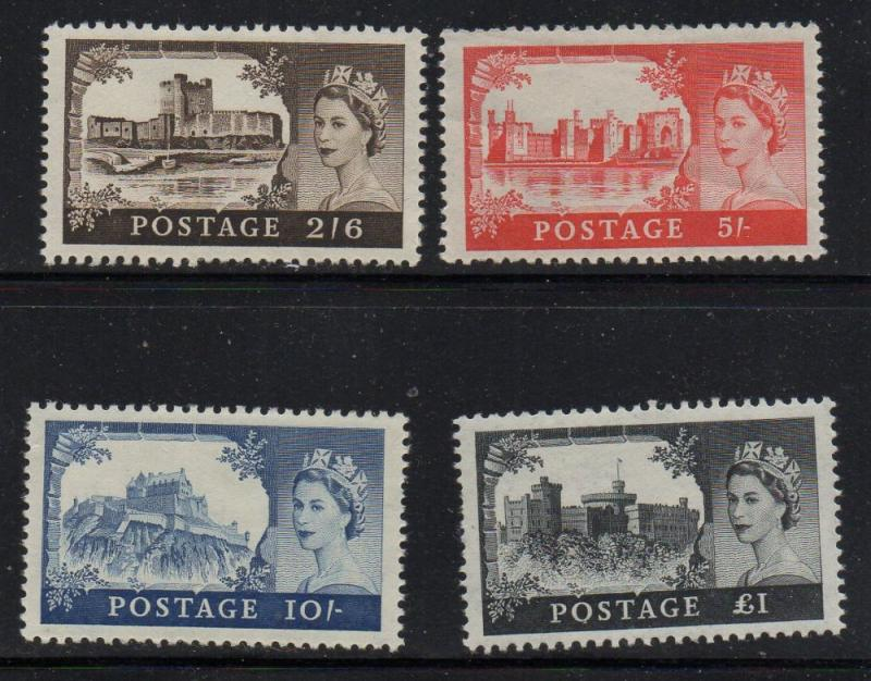 Great Britain Sc 371-74 1959 Hi Value Castles stamp set mint NH