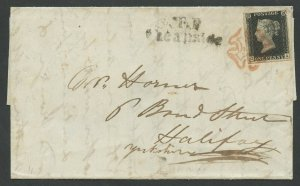 G.B. #1 PLATE 4 LARGE MARGINS ON 1840 COVER W/ RED MALTESE CROSS CV $625 HV1460