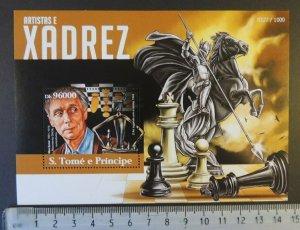St Thomas 2015 artists chess max ernst horses s/sheet mnh