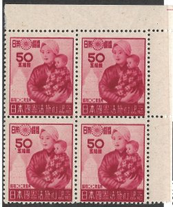 Doyle's_Stamps: 1947 Japanese New Constitution Blcks of 4, Scott #380** & #381**