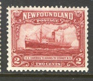 NEWFOUNDLAND 146 1928 2c DEEP CARMINE STEAMSHIP CARIBOU PICTORIAL ISSUE VF MNH