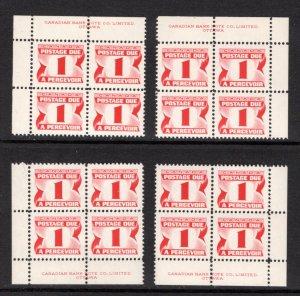 J34iii, Scott, 8c, HB, DEX, MNHOG, matched plate block of 4,2nd Centennial