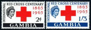 Gambia 173-174, MNH. Intl. Red Cross Centenary. Queen Elizabeth II, 1963