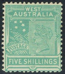 WESTERN AUSTRALIA 1905 QV 5/- WMK CROWN/A