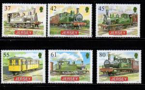 Jersey Sc 1373-8 2009 Railway Steam Engine stamp set mint NH