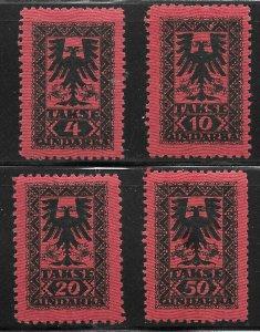 Albania (1922) - Scott # J23 - J26,   MNH