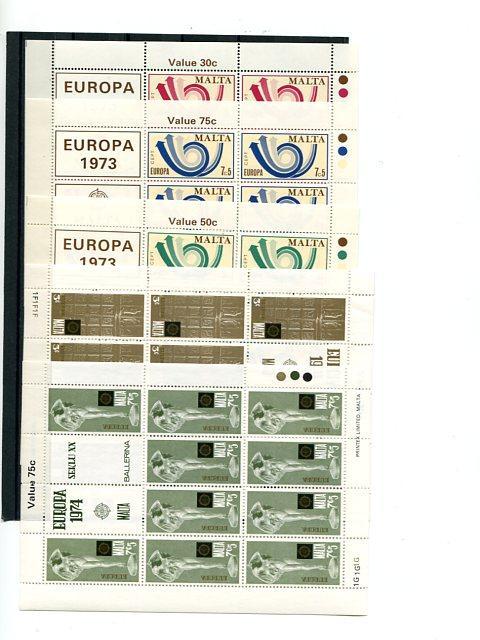 Malta 1972-1979  Europa 25  mini sheets   Mint VF NH